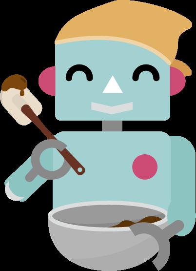 チョコ作りのイラスト(ロボット2)