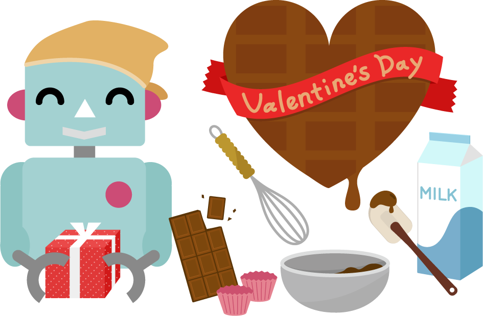 バレンタインのイラスト(ロボット1)