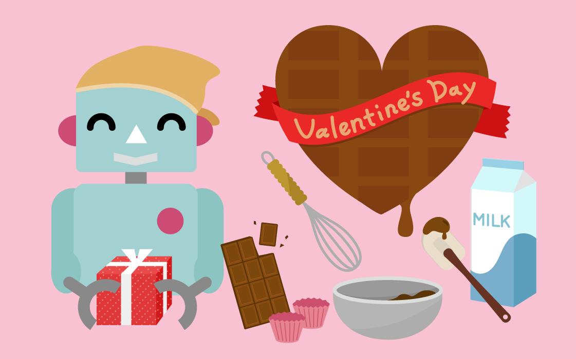バレンタインのイラスト(ロボット2)