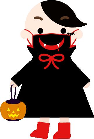牙模様のマスクをした吸血鬼コスプレの男の子のイラスト