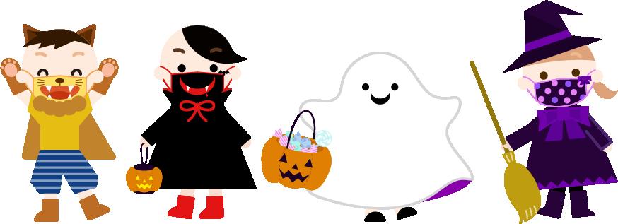 ハロウィンの子供達のイラスト(マスク)