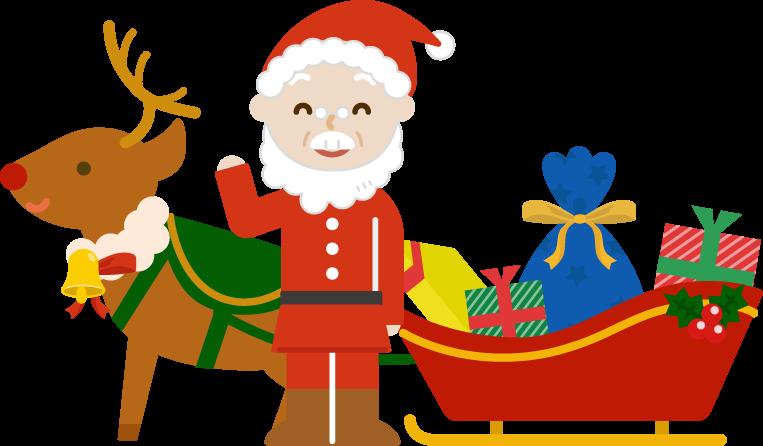 プレゼントとソリとサンタとトナカイのイラスト 無料イラスト素材のillalet