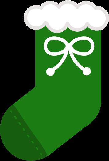 クリスマスプレゼント用の緑色の靴下のイラスト1