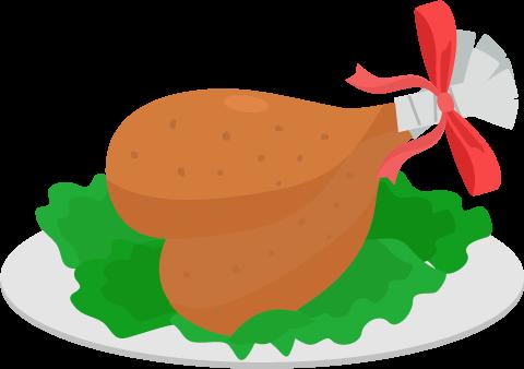 クリスマスのチキンのイラスト