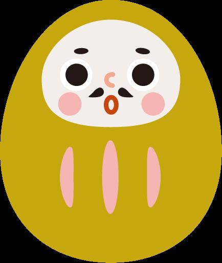 ダルマのイラスト(黄色)