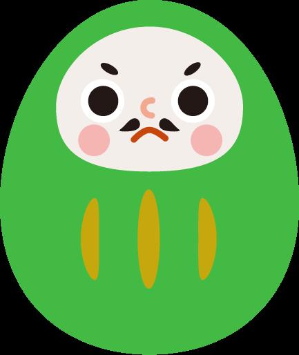 ダルマのイラスト(緑色)