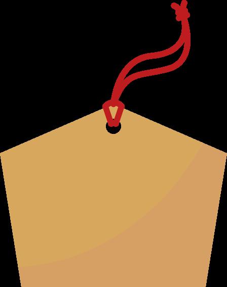 赤い紐がついた絵馬のイラスト
