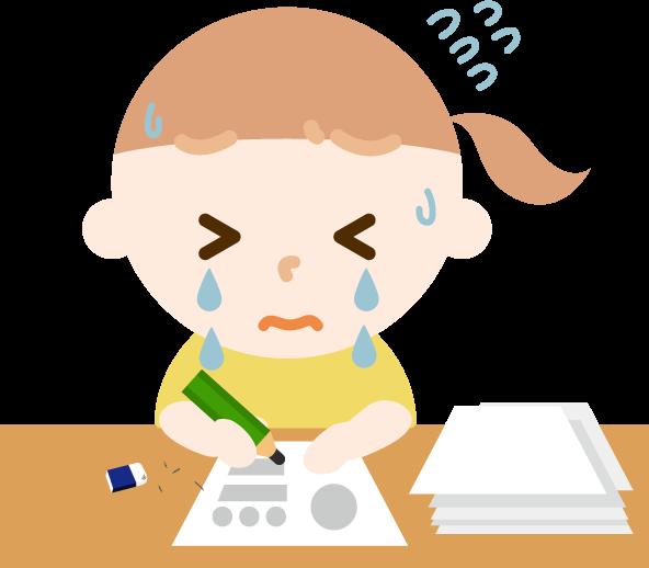 夏休みの宿題が終わらない女の子のイラスト2