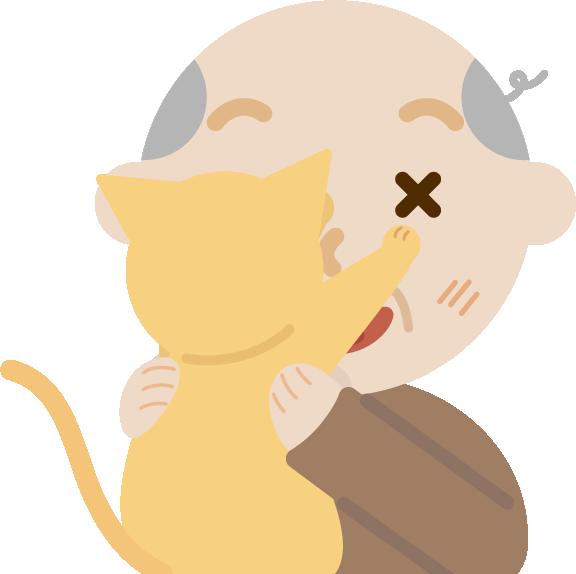 抱っこを嫌がる猫と高齢者の男性のイラスト