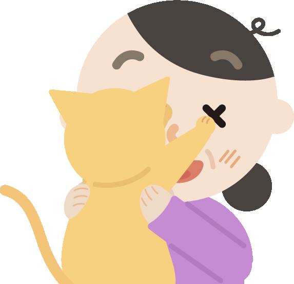 抱っこを嫌がる猫と中年の女性のイラスト