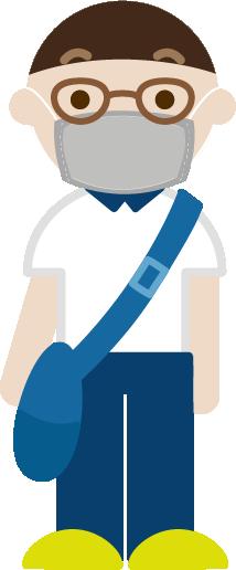 マスクをつけて出かける若い男性のイラスト1