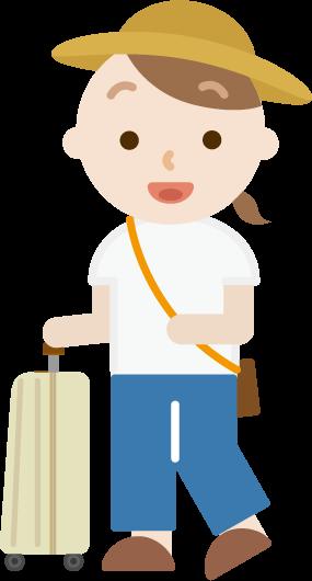 スーツケースを持った若い女性のイラスト