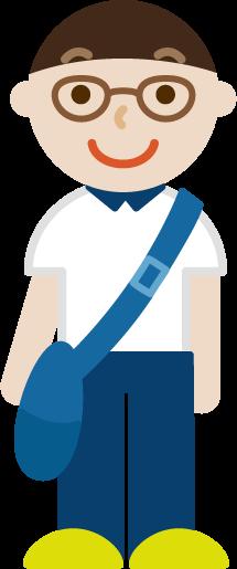 大きな斜め掛け鞄を持った若い男性のイラスト