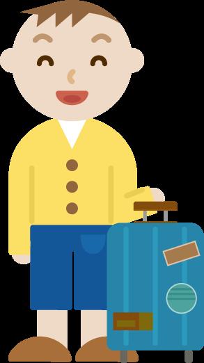 スーツケースを持った若い男性のイラスト