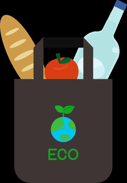 エコバッグと食品のイラスト6