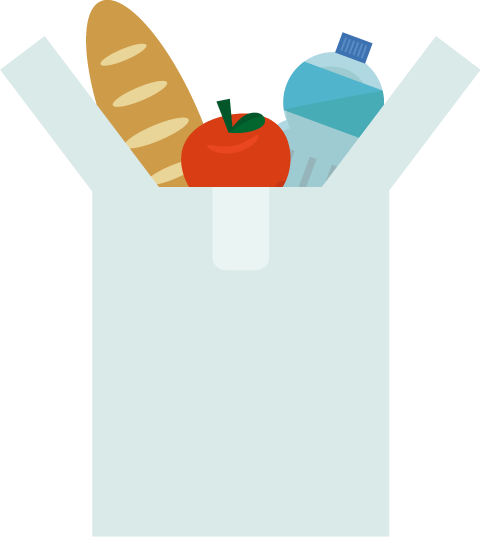 レジ袋と食品のイラスト
