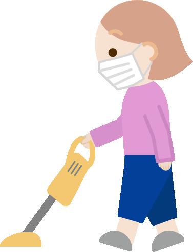 掃除機をかける若い女性のイラスト2