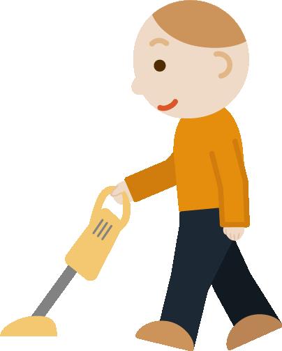 掃除機をかける若い男性のイラスト1