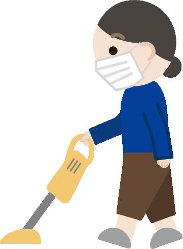 掃除機をかける中年女性のイラスト2