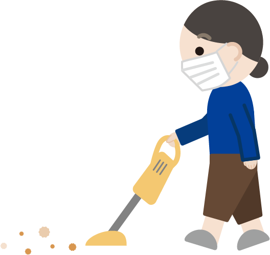 掃除機をかける中年女性のイラスト3