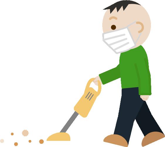 家事(掃除機かけ)をする中年男性のイラスト(マスク)2