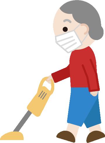 家事(掃除機)をする高齢者の女性のイラスト(マスク)1