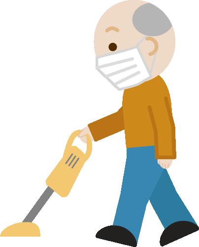 掃除機かけをする高齢者の男性のイラスト(マスク)1