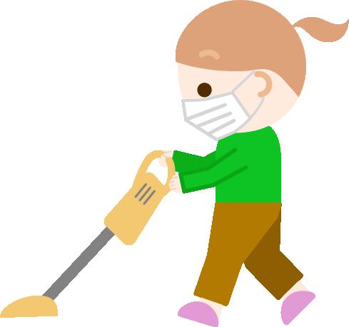 家事(掃除機がけ)をする女の子のイラスト(マスク)1