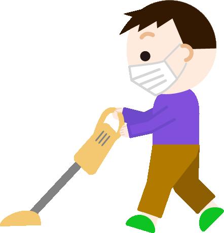 掃除機をかける男の子のイラスト(マスク)