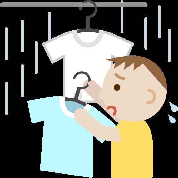 雨で洗濯物を取り込む若い男性のイラスト