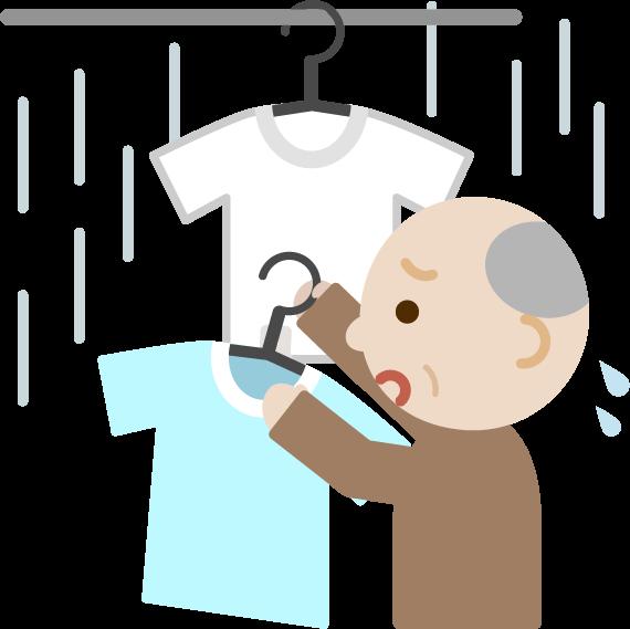 雨で洗濯物を取り込む高齢者の男性のイラスト