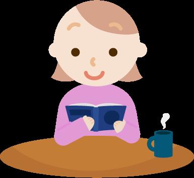 読書する若い女性のイラスト