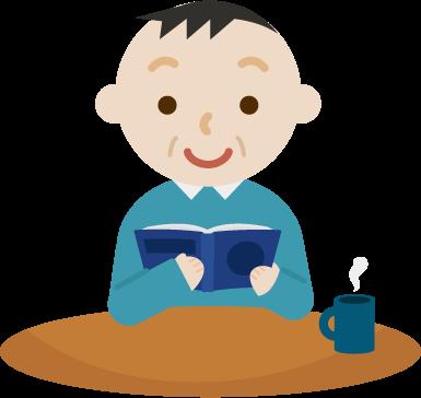 机で本を読む中年の男性のイラスト