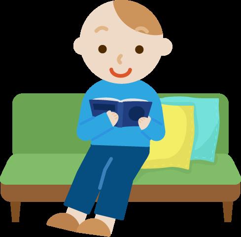 ソファで読書する若い男性のイラスト