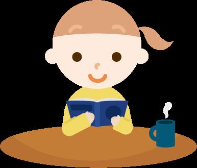 読書する女の子のイラスト