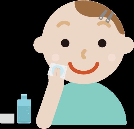 スキンケアをする若い男性のイラスト(化粧水)
