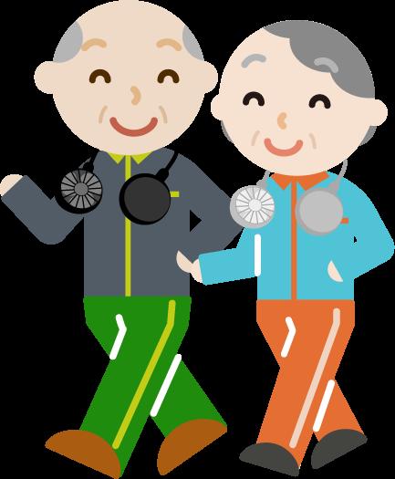 ハンズフリー扇風機をつけてウォーキングする高齢者の男女のイラスト