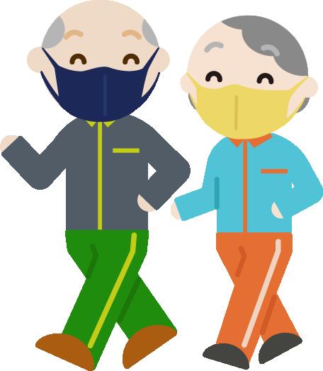 ウォーキングをする高齢者の男女のイラスト(マスク)