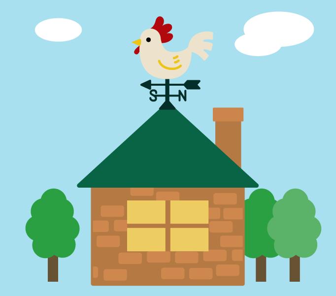 屋根に風見鶏がついた家のイラスト2