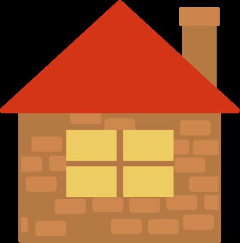 煉瓦造りの家のイラスト(赤い屋根)