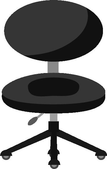ブラックのデスクチェアのイラスト