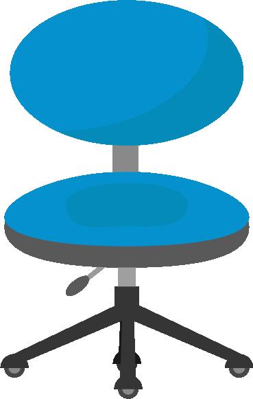 ブルーのデスクチェアのイラスト