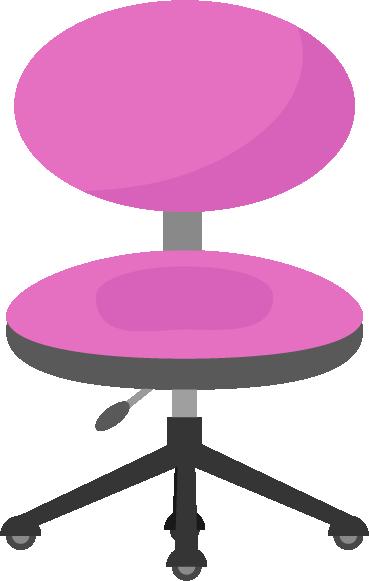 ピンクのデスクチェアのイラスト