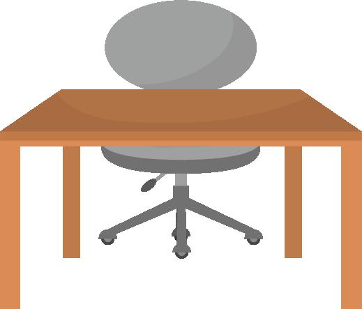 グレーの椅子と木の机のイラスト