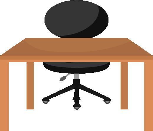 黒い椅子と木の勉強机のイラスト