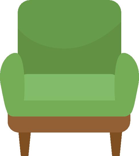 緑色の一人がけソファのイラスト