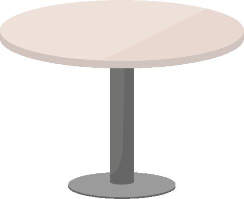 アイボリー色の丸テーブルのイラスト