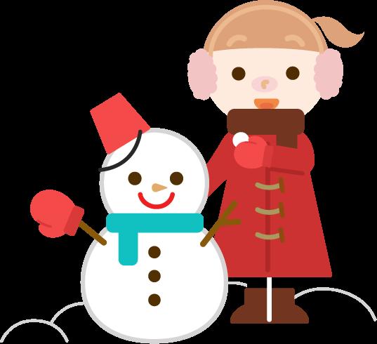 雪だるまと女の子のイラスト