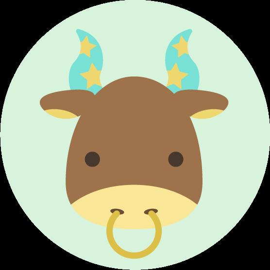 牡牛座の丸いアイコンイラスト(12星座)