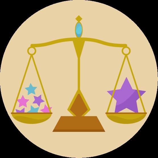 天秤座の丸いアイコンイラスト(12星座)